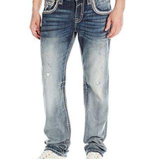 Rock Revival Men's Straight Fit Jean, Blue, 36