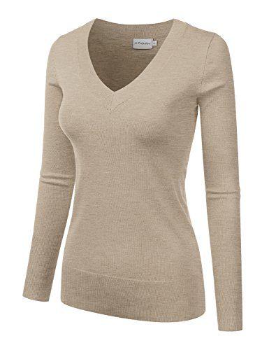 Home   Shop   Women   Clothing   Sweaters   JJ Perfection Women s Simple V-Neck  Pullover Soft Knit Sweater MELANGEKHAKI M 065122fc1