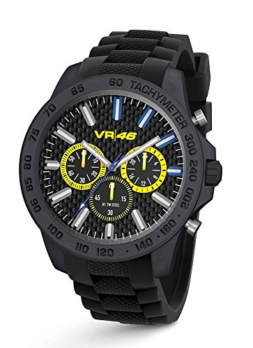 "TW Steel VR46 Yamaha Valentino Rossi ""the Doctor"" Men's Ultra Light Carbon Motorcycle Racing Chronograph Watch VR114 Black Silicone Strap Analog Sport Wrist Watches"