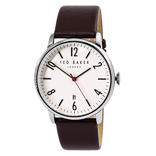 Ted Baker Men's 'Modern Visual' Quartz Stainless Steel and Leather Dress Watch, Color Red