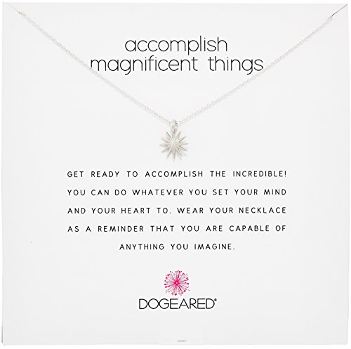 """Dogeared Reminders- Accomplish Magnificient Things Sterling Silver Starburst Charm Necklace, 16""""+2"""" Extender"""
