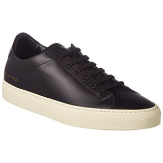 Common Projects Men's Achilles Leather Sneaker, 42, Black