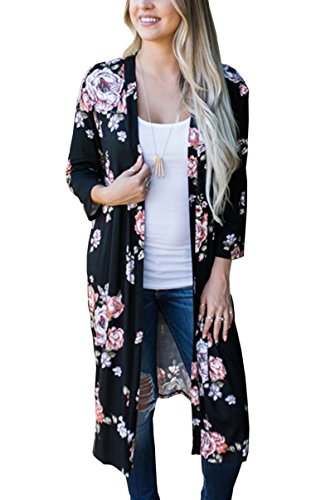 Hibluco Women's Casual Floral Printed Long Open Front Maxi Cardigan Jacket Outwear (Medium, Black)
