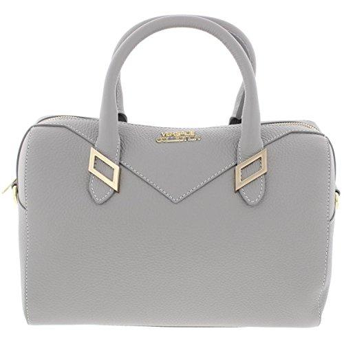 Versace Collection Womens Leather Pebbled Satchel Handbag Gray Medium