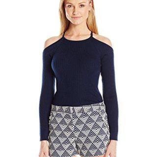 Trina Turk Women's Kawaii Cold Shoulder Ribbed Sweater, Indigo, L
