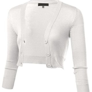 ARC Studio Women's Solid Button Down 3/4 Sleeve Cropped Bolero Cardigans S White