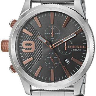 Diesel Men's 'Rasp Chrono 46' Quartz Stainless Steel Casual Watch, Color Silver-Toned (Model: DZ4457)