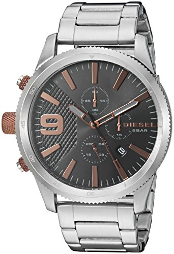 Diesel Men's 'Rasp Chrono 46' Quartz Stainless Steel Casual Watch, Color Silver-Toned (Model: DZ4457)