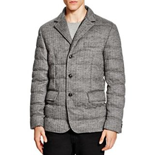 Moncler Mens Grey Harrington Pattern Rodin Quilted Down Sport Coat (4 / XL)