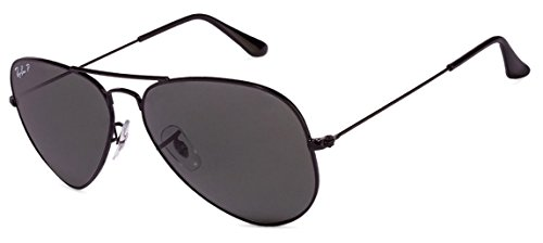 Ray Ban Aviator Sunglasses Unisex (55 mm Frame Black Polarized Solid Lens, 55 mm Frame Black Polarized Solid Lens)