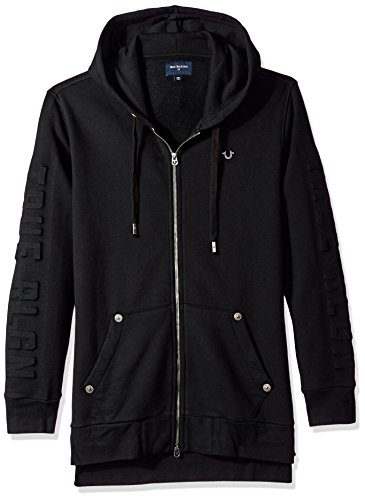 True Religion Men's Elongated Embossed Zip Hoodie, Jet Black, XXL