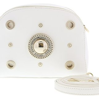 Versace White Crossbody Bag with adjustable and detachable strap for Womens