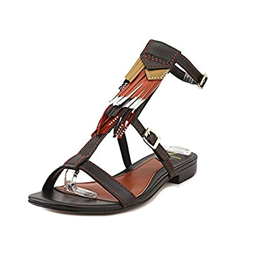 B Brian Atwood Womens Megan Leather Boho T-Strap Sandals Black 7.5 Medium (B,M)