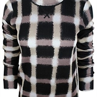 Marc Jacobs Marc by Women's Black White Blurry Checked Crew Neck Sweater, S