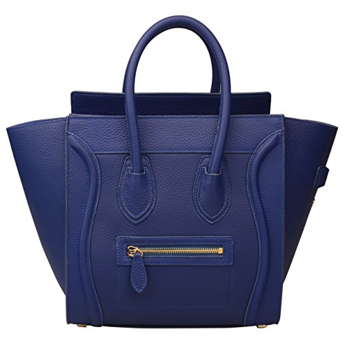 Ainifeel Women's Genuine Leather Smile Top Handle Handbag Purse (Medium, Electric blue)