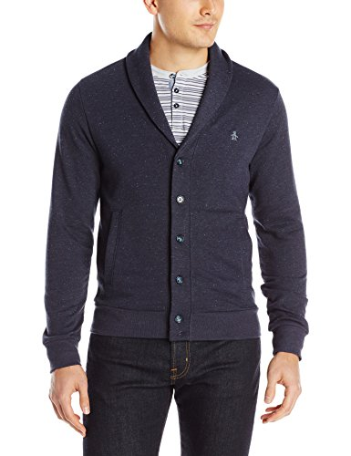 Original Penguin Men's NEP Fleece Cardigan, Dark Sapphire, Large