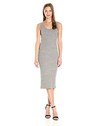 Enza Costa Women's Stretch Mock Twist Rib Tank Midi Dress, Heather Grey, L