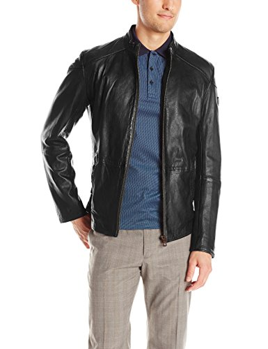 BOSS Orange Men's Jermon Leather Biker Jacket, Black, 40 Regular