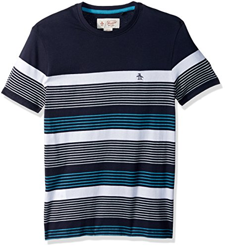 Original Penguin Men's Short Sleeve Blocked Stripe Tee, Dark Sapphire, Large