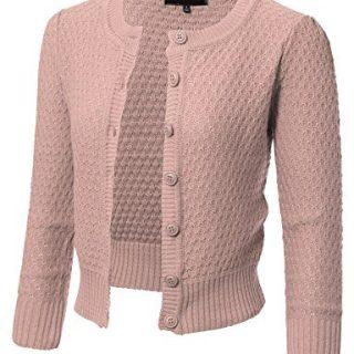 ARC Studio Womens Button Down 3/4 Sleeve Crewneck Cropped Knit Cardigan Crochet Sweater S Blush