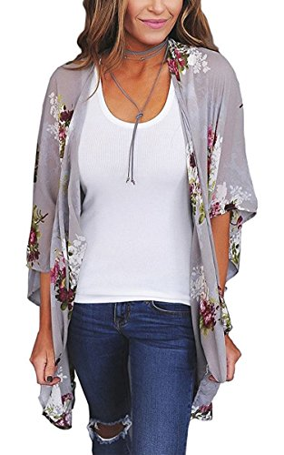 Hibluco Women's Fashion Floral Print Kimono Cardigan Long Tops Loose Cover Ups (Large, K71)