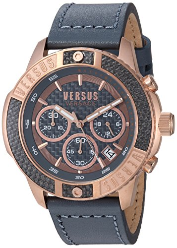 Versus by Versace Men's 'Admiralty' Quartz Gold-Tone and Leather Casual Watch, Color:Grey