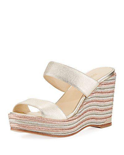 JIMMY CHOO Parker Metallic Wedge Platform Sandals