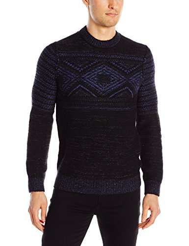 BOSS Orange Men's Kordejan Cosy Comfort Tweed Yarn Sweater, Black, Medium
