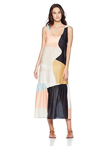 Mara Hoffman Women's Valentina Tank Maxi Coverup Dress, Neapolitan Peach/Multi, Small