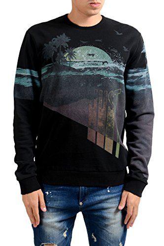 Just Cavalli Men's Graphic Designed Crewneck Long Sleeve Sweatshirt US M IT 50