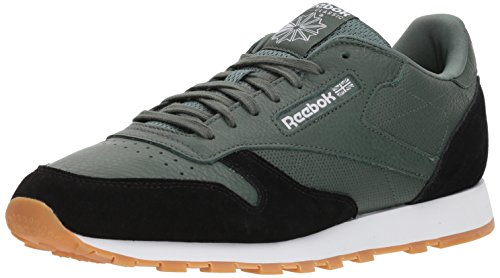 Reebok Men's Classic Leather Sneaker, Chalk Green/Black/White Gum, 11 M US