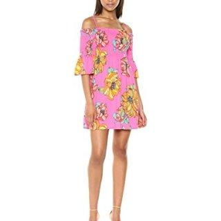 Trina Trina Turk Women's Ventana Smocked Off The Shoulder Dress, Peony, S