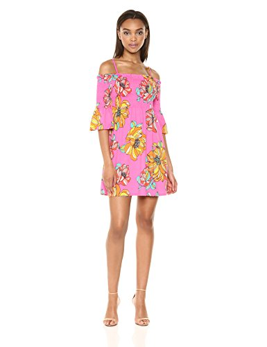 Trina Trina Turk Women's Ventana Smocked Off The Shoulder Dress, Peony, S