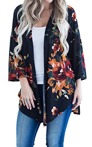 Hibluco Women's Fashion Long Sleeve Floral Printed Open Cardigan Jacket Outwear (K6, Large)