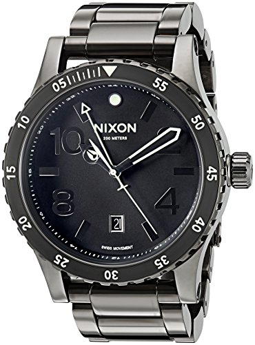 Nixon Men's 'Diplomat SS' Swiss Quartz Stainless Steel Watch, Color:Black