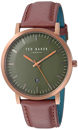 Ted Baker Men's 'David' Quartz Stainless Steel and Leather Casual Watch, Color Red