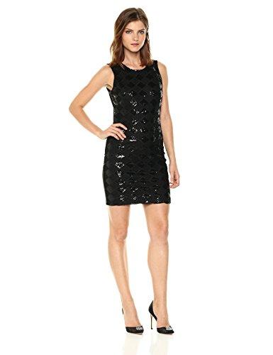 A|X Armani Exchange Women's Sleeveless Diamond Sequin Dress, Black, M