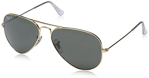 Ray-Ban Aviator Large Metal Sunglasses 58 mm, Polarized, Arista Gold/Polarized Crystal Green