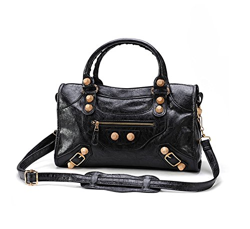 7a1a09f1ffa9 Gold-Tech Women Leather Big Gold Color Studed Motorcycle Bags 38cm Medium  Size Shoulder Bag