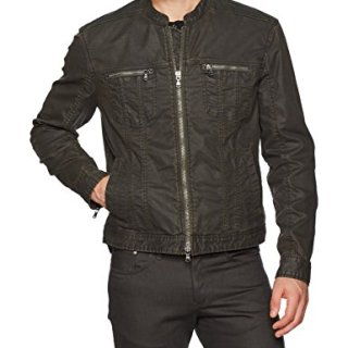 John Varvatos Men's Band Collar Denim Jacket, Peat, XX-Large