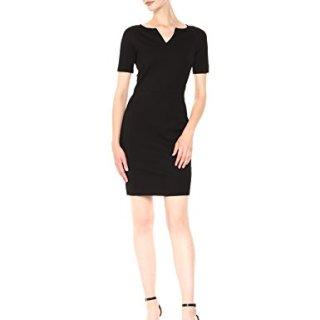 A X Armani Exchange Women's Short Sleeve V Cut Neck Bodycon Dress, Black, XS