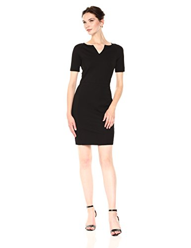 A|X Armani Exchange Women's Short Sleeve V Cut Neck Bodycon Dress, Black, XS