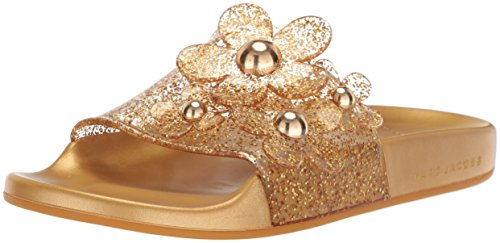 Marc Jacobs Women's Daisy Aqua Slide Sandal, Gold, 38 M EU (8 US)