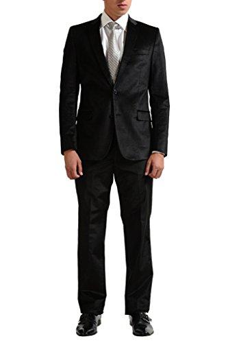 Versace Collection Men's Black Velour Two Button Suit US 44 IT 54;