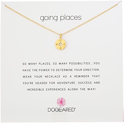 """Dogeared Going Places Compass Disc Gold Dipped Chain Necklace, 18"""""""