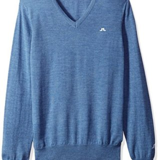 J.Lindeberg Men's Merino V-Neck Sweater, Blue Melange, XXL