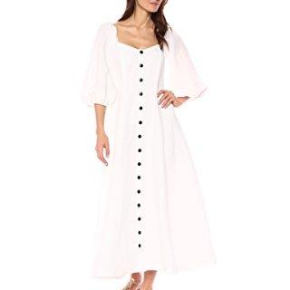 Mara Hoffman Women's Mika Button up Three Quarter Sleeve Midi Dress, White, 4