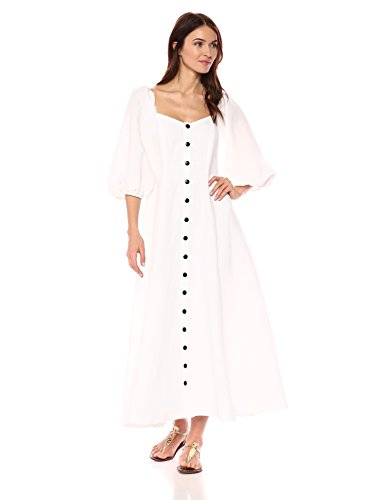 Mara Hoffman Women's Mika Button up Three Quarter Sleeve Midi Dress, White, 4