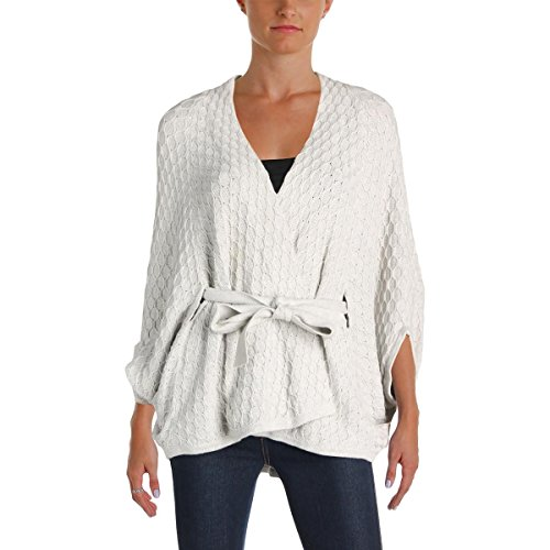 Trina Turk Womens Tatyana Pattern Dolman Sleeves Cardigan Sweater Gray XS