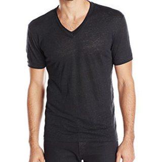 John Varvatos Collection Men's Short Sleeve V-Neck T-Shirt, Black, X-Large